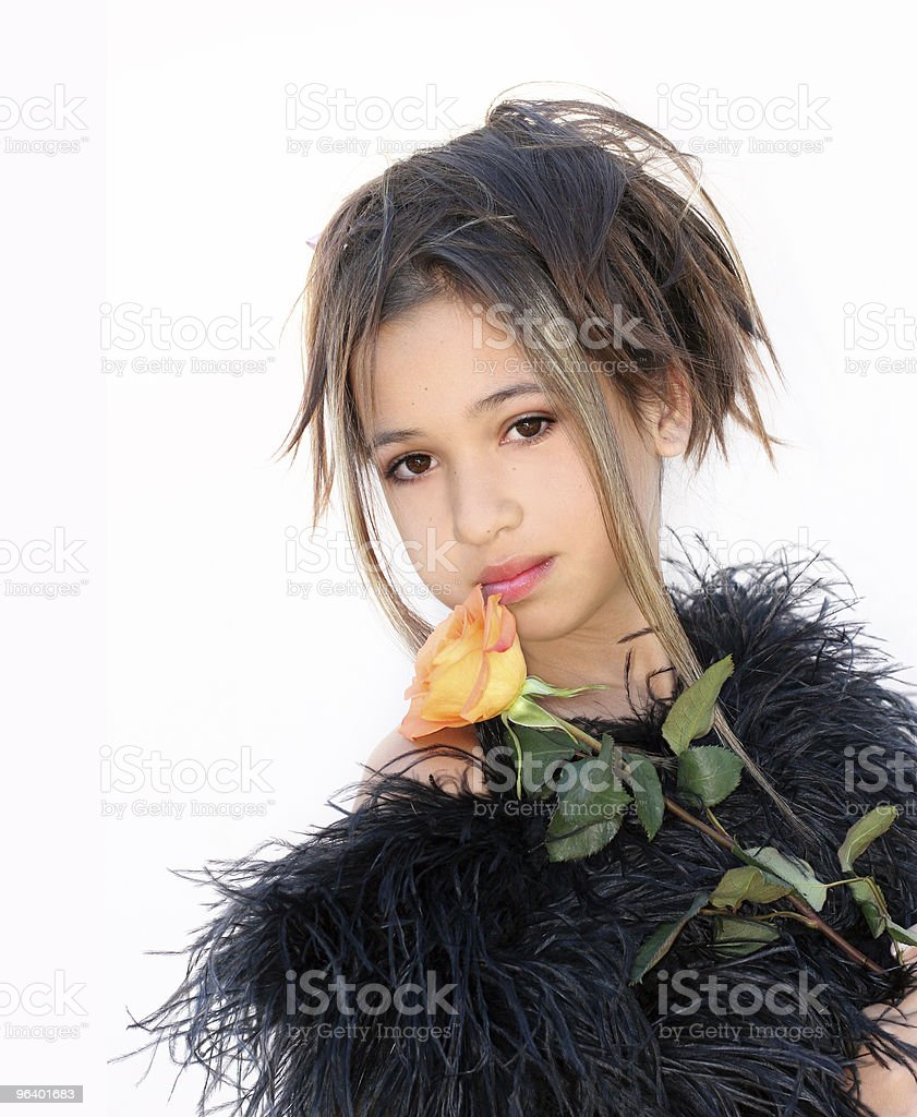 Asian girl with a rose - Royalty-free Adolescence Stock Photo