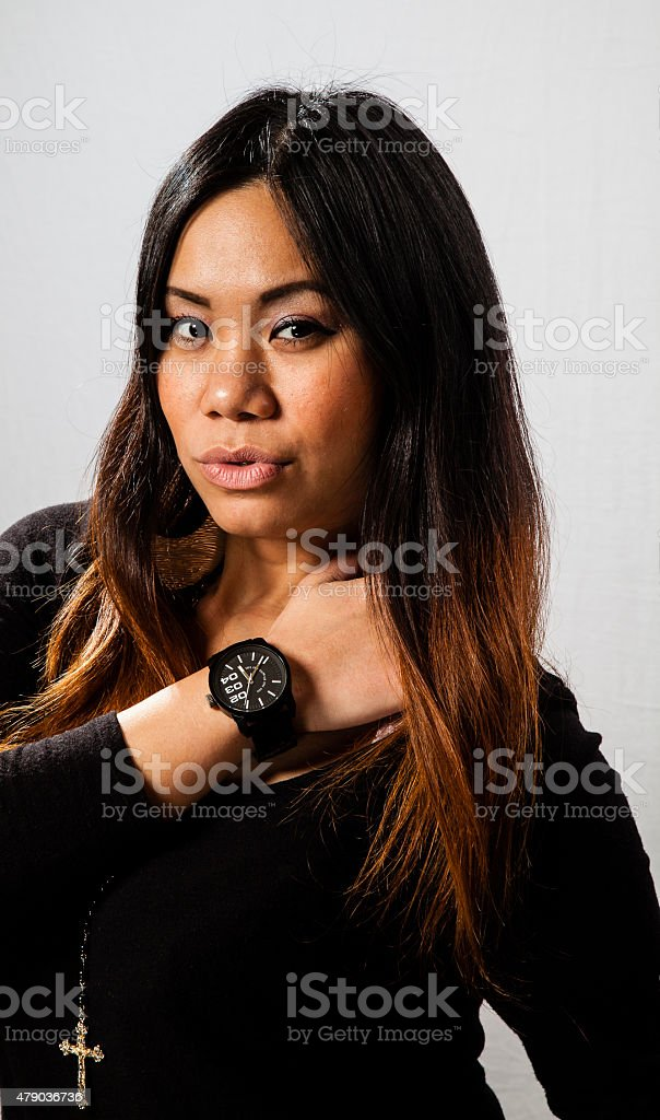 Asian Girl with Pouty Lips stock photo