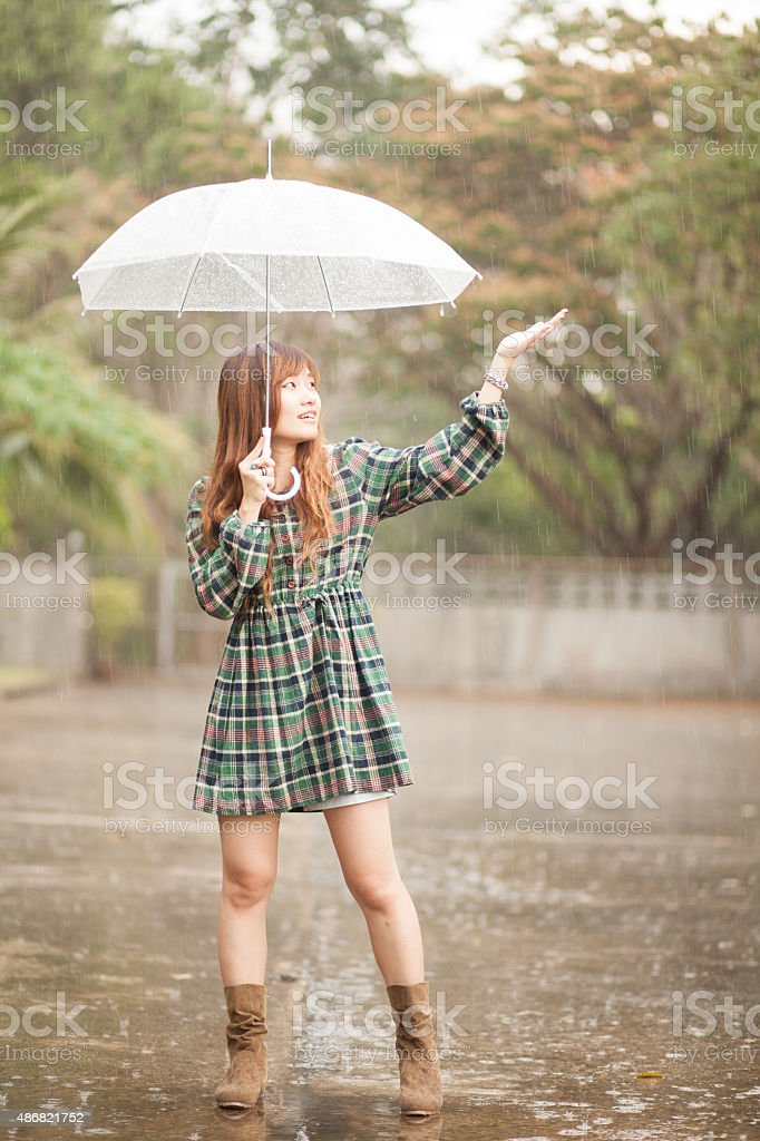 Asian girl with umbrella stock photo
