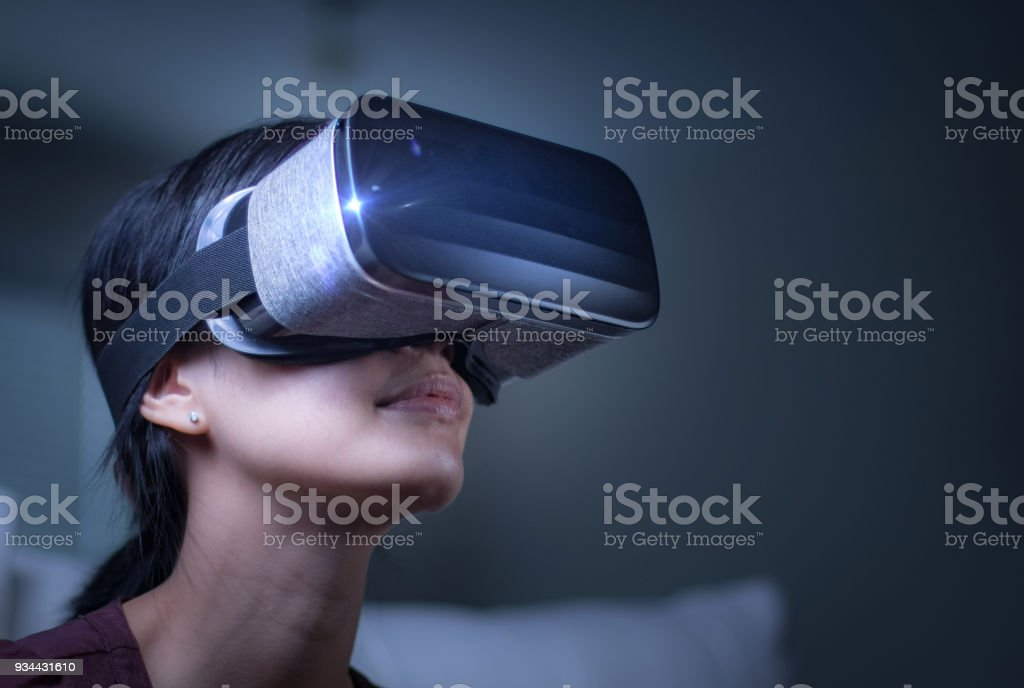 Asian Girl with VR headset stock photo