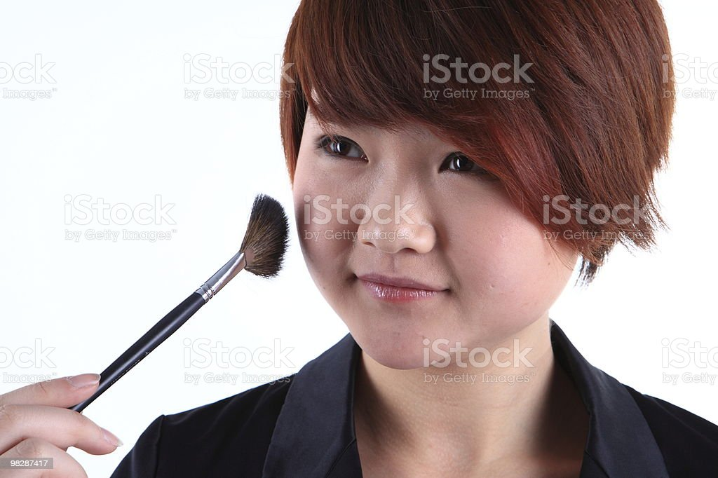 Asian girls are a make-up royalty-free stock photo