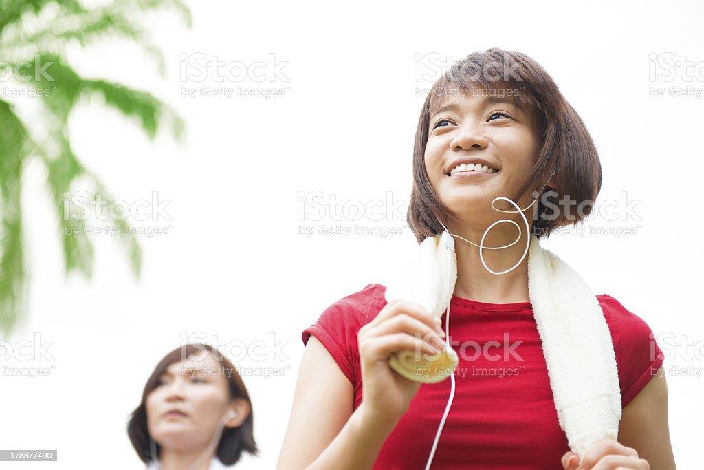 Asian girls running stock photo
