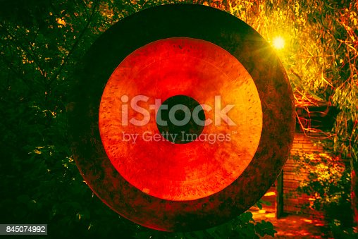 asian gong in a public japanese garden in Rothenburg