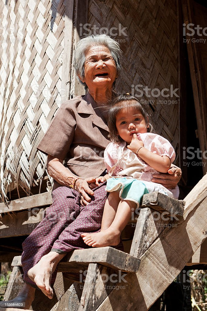 asian grandmother with granddaughter royalty-free stock photo