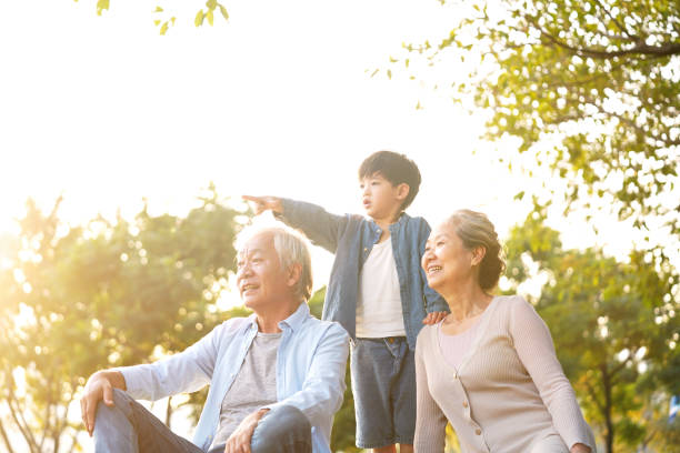 asian grandparent and grandson having fun outdoors in park stock photo