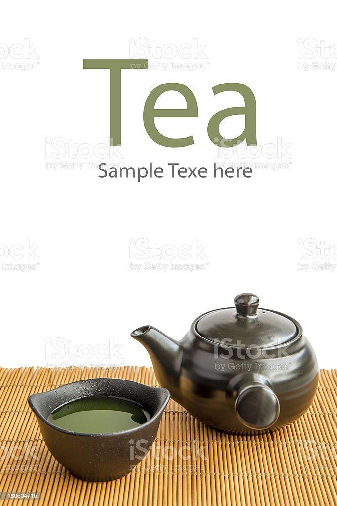 Asian Green tea set on bamboo mat royalty-free stock photo