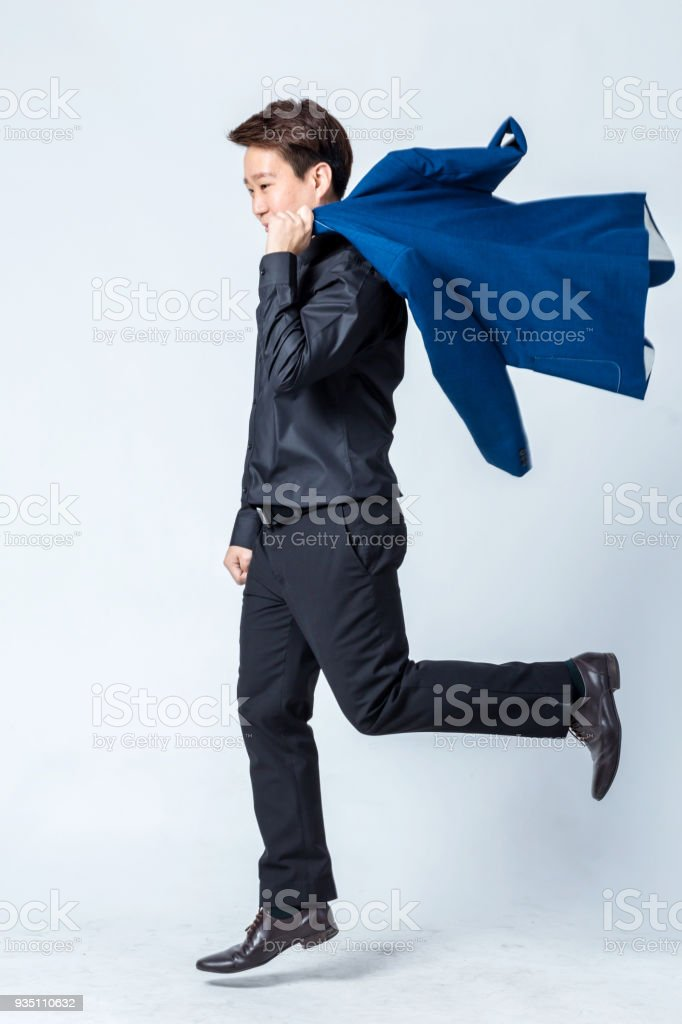 asian handsome businessman studio photos hoot isolate white background standing action pose stock photo