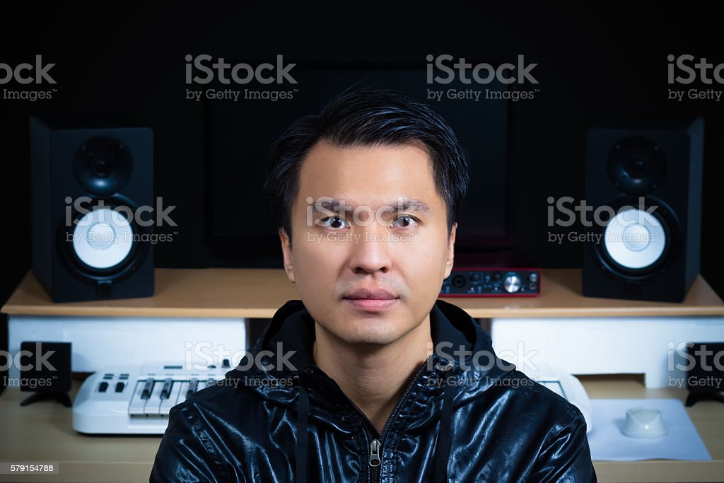 asian handsome music composer, song writer, sound engineer on...