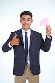Asian handsome young business man holding concept paper icon props