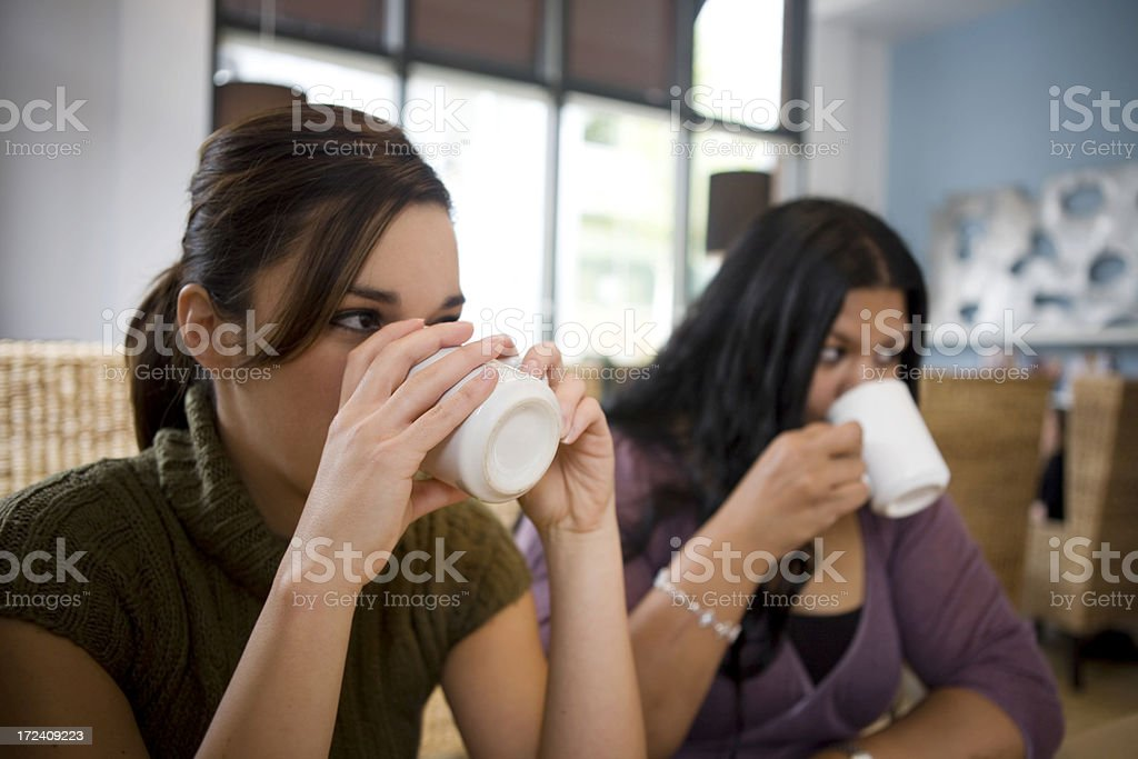 Asian Indian and Caucasian Friends Drinking Coffee, Copy Space royalty-free stock photo