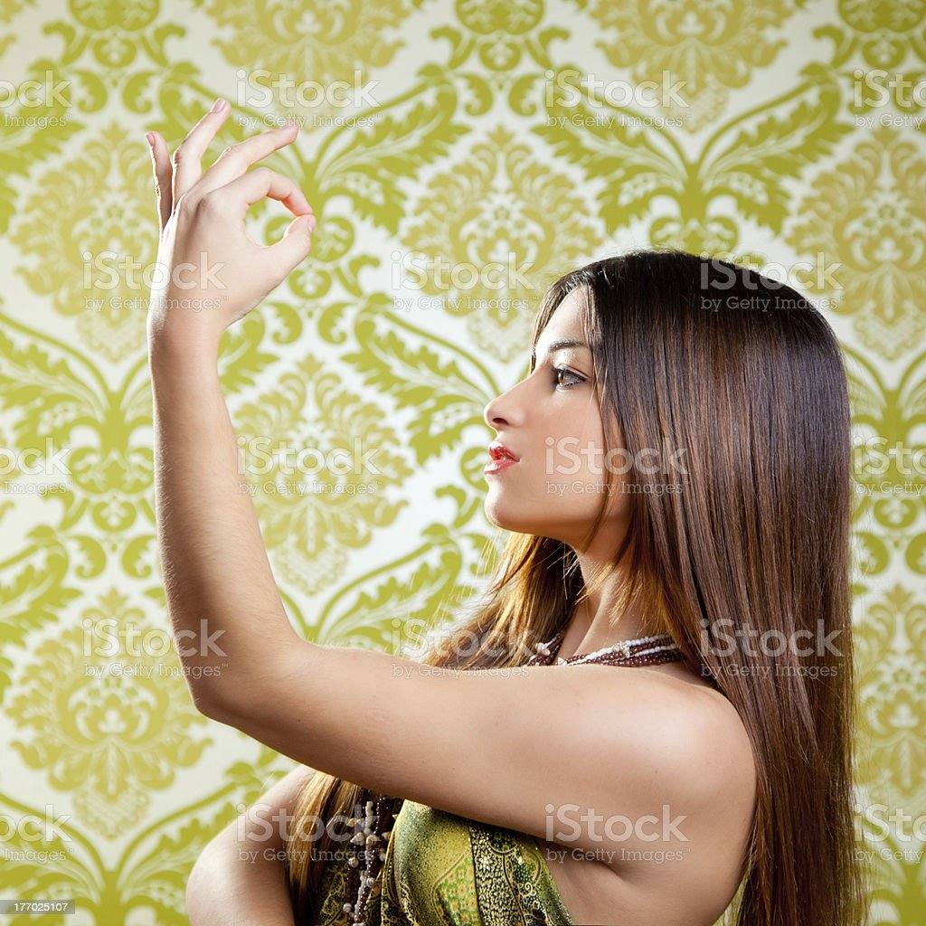 Asian Indian brunette girl with long hair dancing royalty-free stock photo