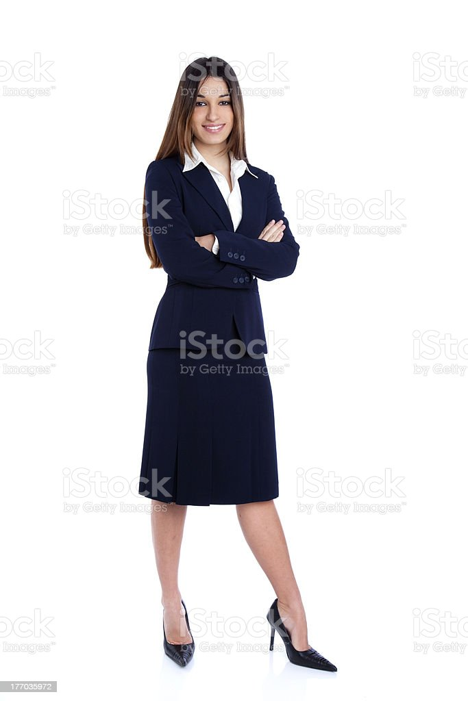 asian indian business woman full length with blue suit royalty-free stock photo