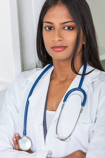 Asian Indian Female Woman Hospital Doctor stock photo
