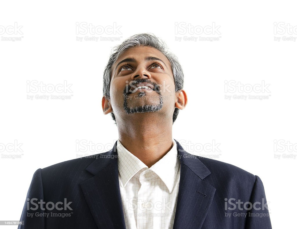 Asian Indian male looking up royalty-free stock photo