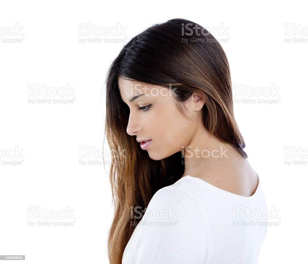 Asian indian profile girl brunette portrait stock photo