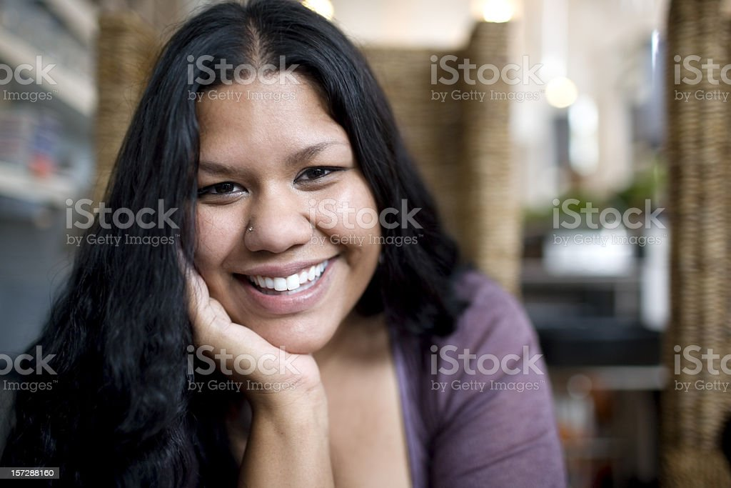 Asian Indian Woman Smiling Portrait, Chin in Hands, Copy Space royalty-free stock photo