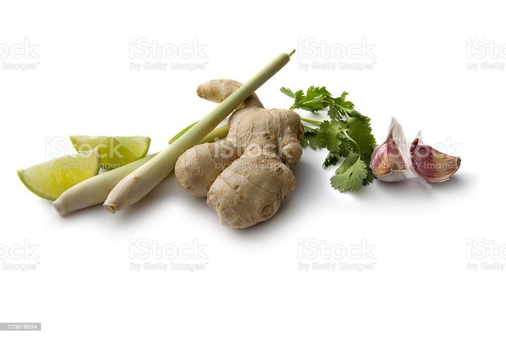 Asian Ingredients: Ginger, Garlic, Lemon Grass, Lime, Coriander royalty-free stock photo