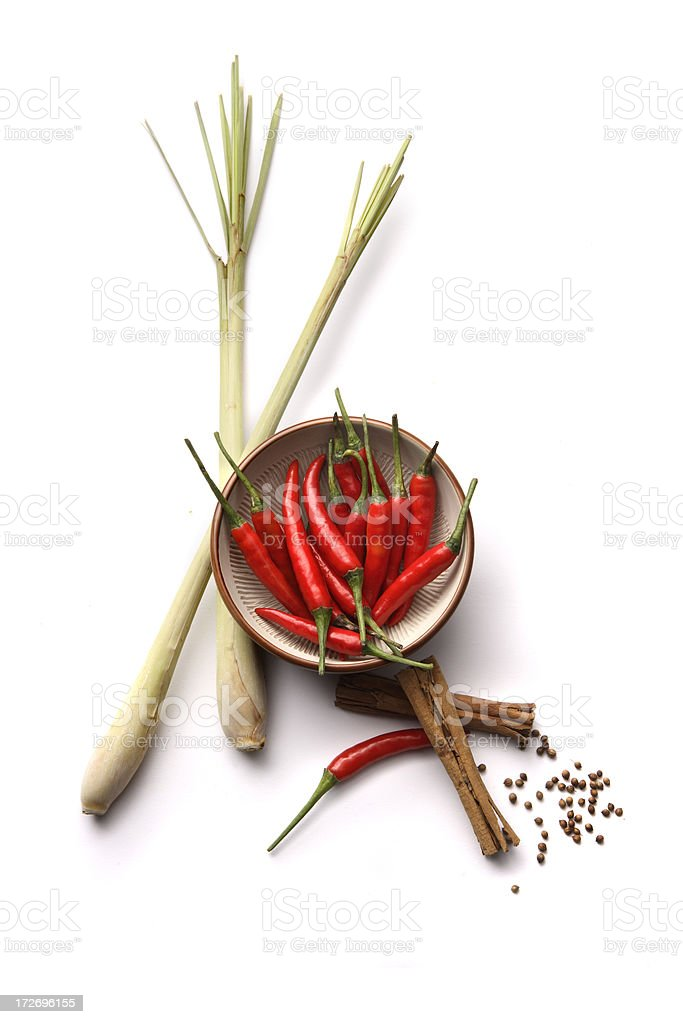 Asian Ingredients: Lemon Grass, Cinnamon, Chili Pepper royalty-free stock photo