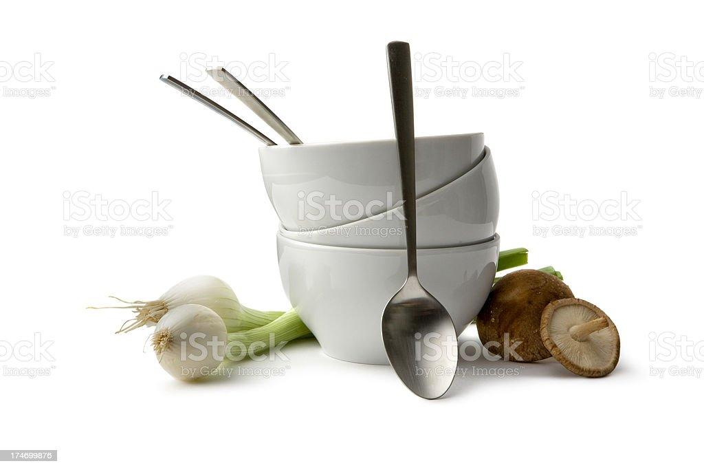 Asian Ingredients: Shiitake, Spring Onion, Bowls royalty-free stock photo