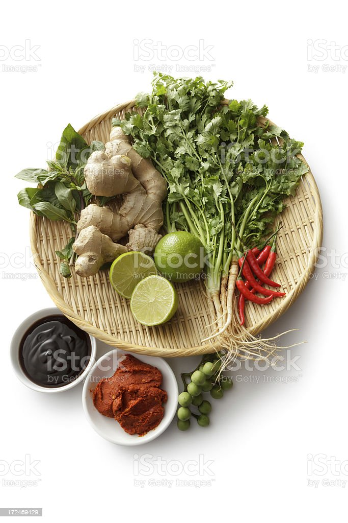 Asian Ingredients: Thai Food Ingredients Isolated on White Background royalty-free stock photo