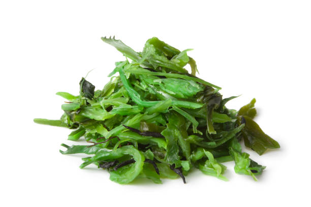 asian ingredientes: wakame - algas fondo blanco fotografías e imágenes de stock