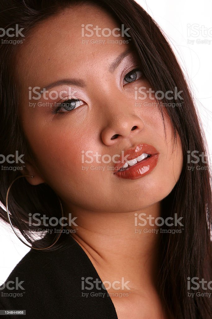 asian isolated in black head back royalty-free stock photo