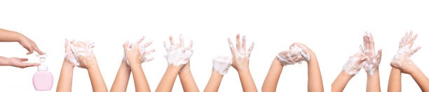 asian kid girl hand washing isolated on white background. - lavarsi le mani foto e immagini stock