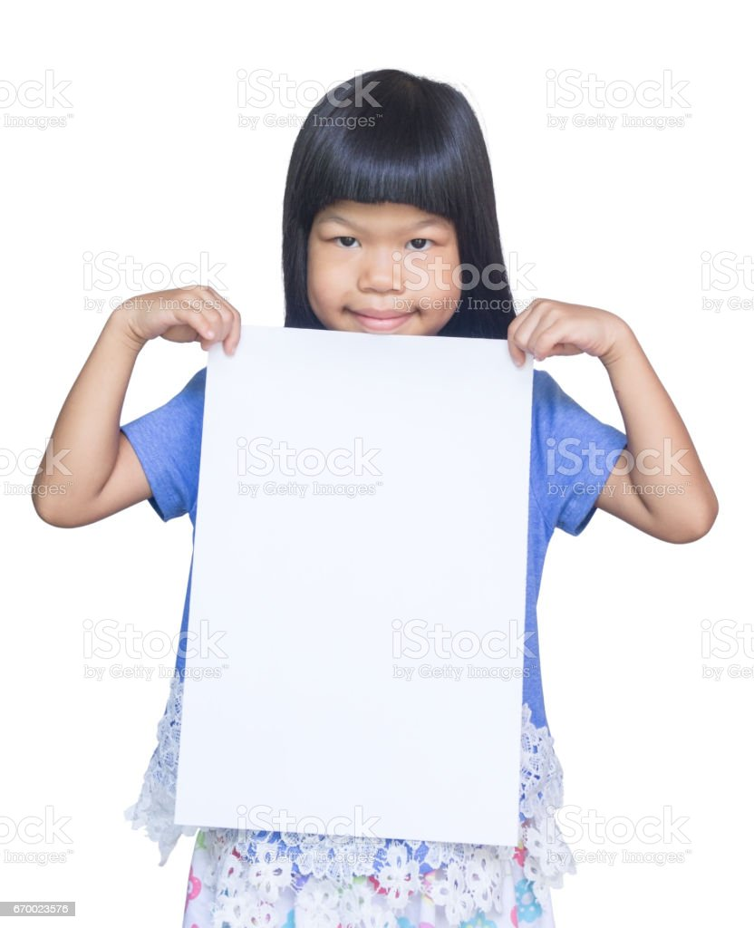 asian kid smile and hold blank poster stock photo