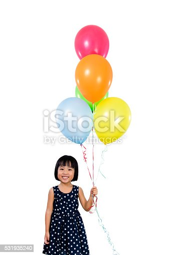 istock Asian Little Chinese Girl Holding Colorful Balloons 531935240