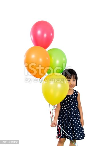 istock Asian Little Chinese Girl Holding Colorful Balloons 531935388