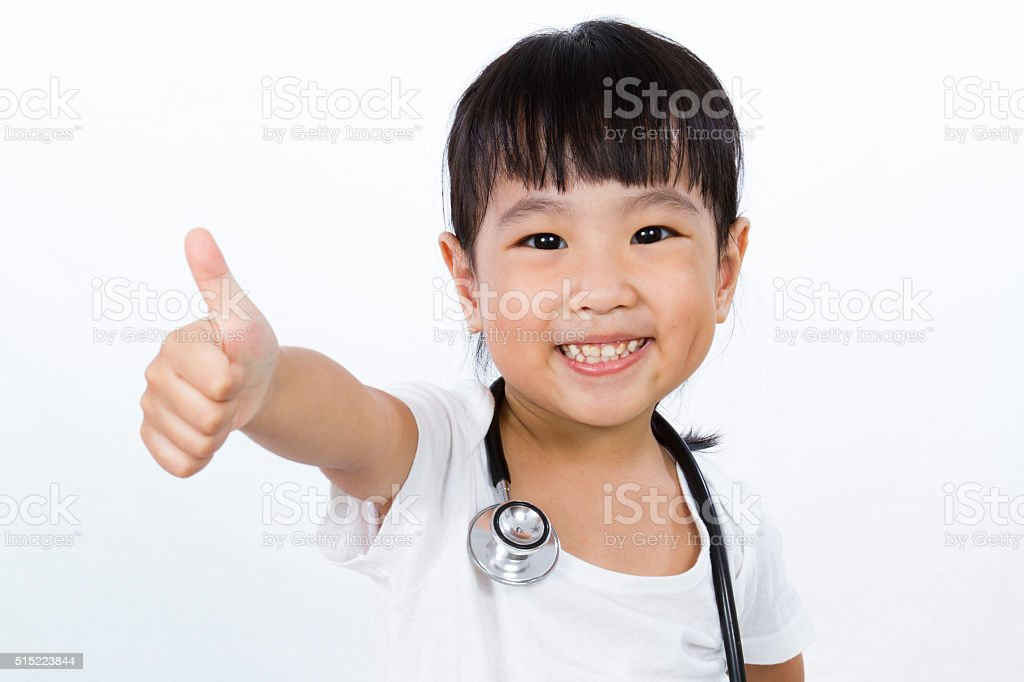 Asian Little Chinese Girl With a Stethoscope stock photo