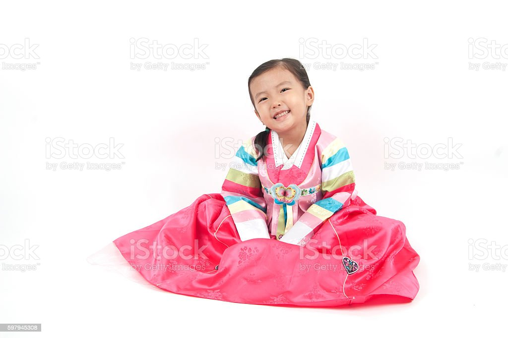 Asian little girl in korean costume with happy smile foto royalty-free