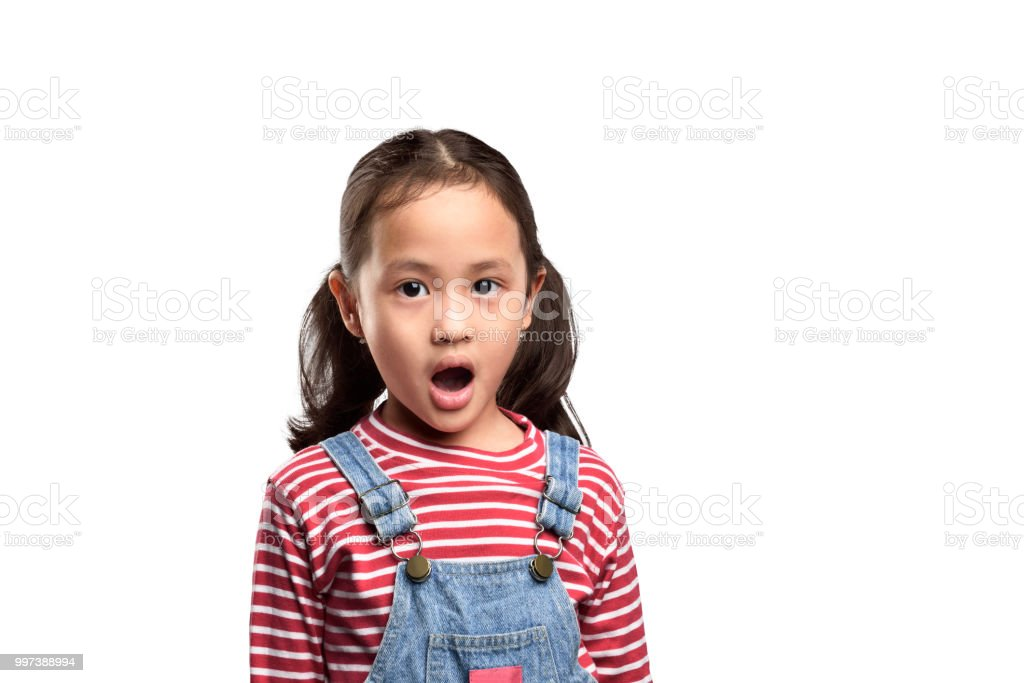 d9166f65a07 Asian little girl with funny surprised expression royalty-free stock photo
