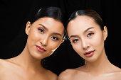 istock Asian Long straight black hair tan skin woman in Black dress 1126415018