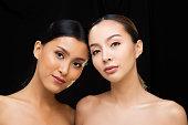 istock Asian Long straight black hair tan skin woman in Black dress 1126415020