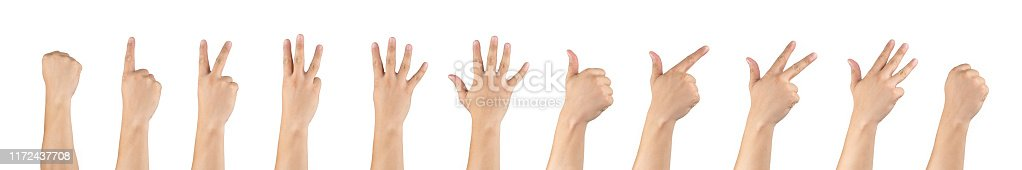 istock Asian male back hands counting zero to ten isolate white background in studio light - with clipping path. 1172437708