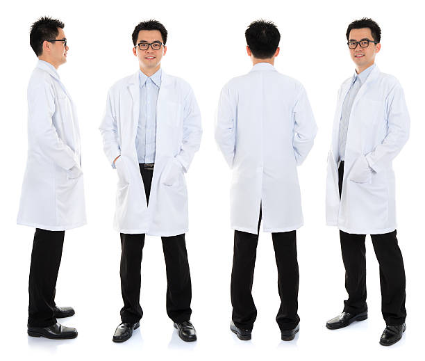 Asian male beauty therapist in beautician uniform stock photo