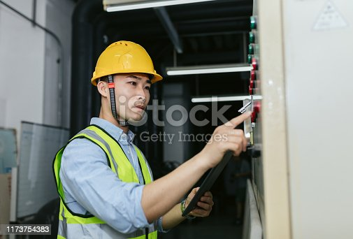 Production Line, Construction Industry, Digital Tablet, Electricity, Inspector, China - East Asia, Men