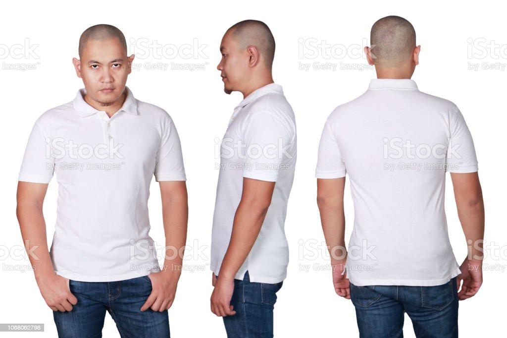 Asian Male Model Wear Plain White Polo Shirt Mockup Stock Photo