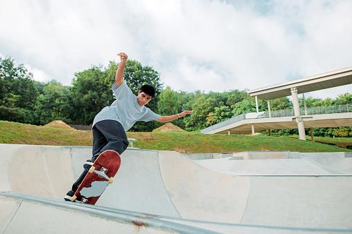 wide shot of skater in action