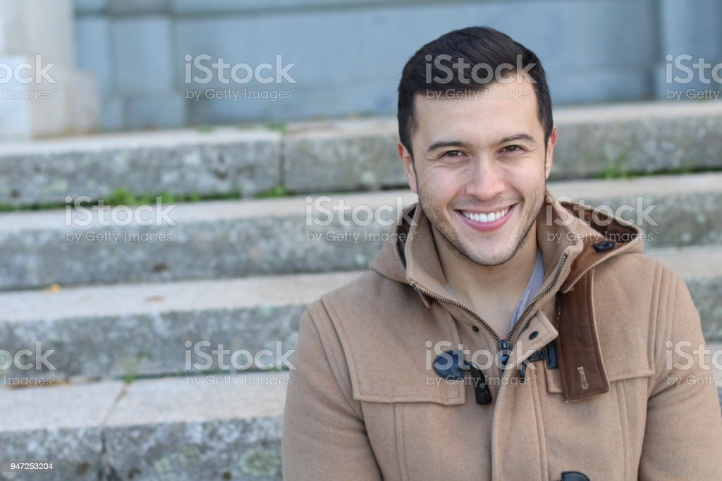 Asian male smiling with copy space stock photo
