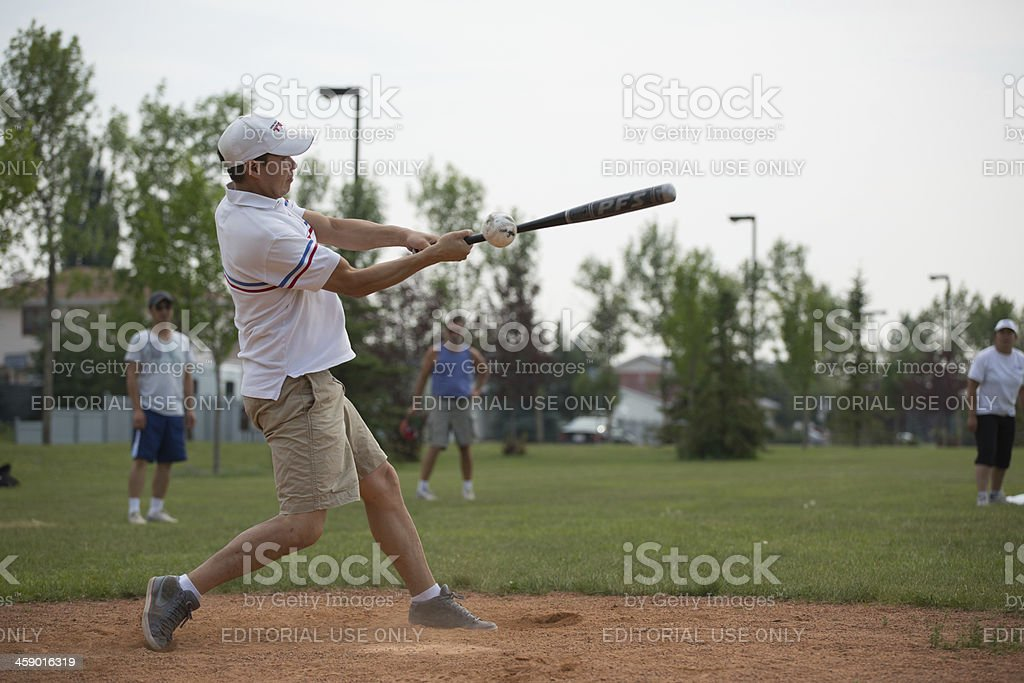 Asian male softball player royalty-free stock photo