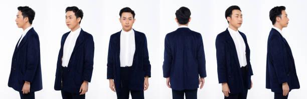 asian man 20s blue suit difference poses white background isolated - ritratto 360 gradi foto e immagini stock