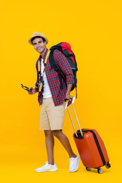 Asian man being ready for his vacation stock photo