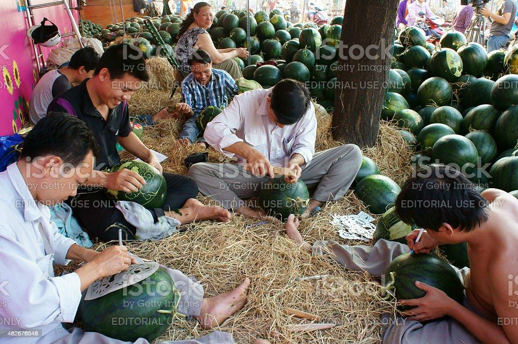 Asian man, farmer market, engraving  watermelon stock photo