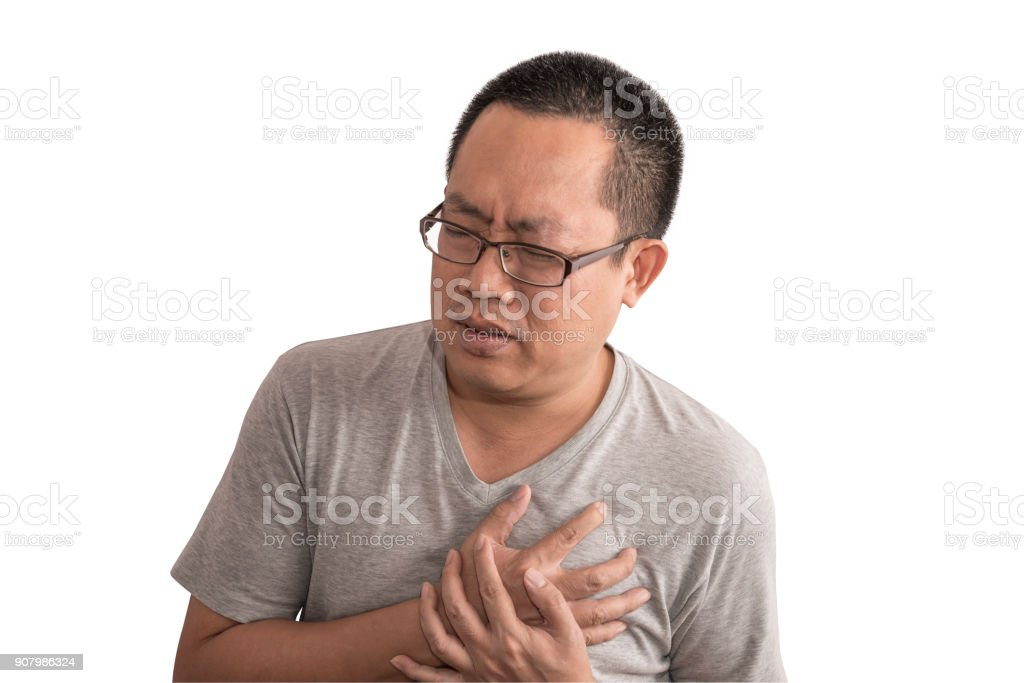 Asian man having chest pain  or heart attack stock photo