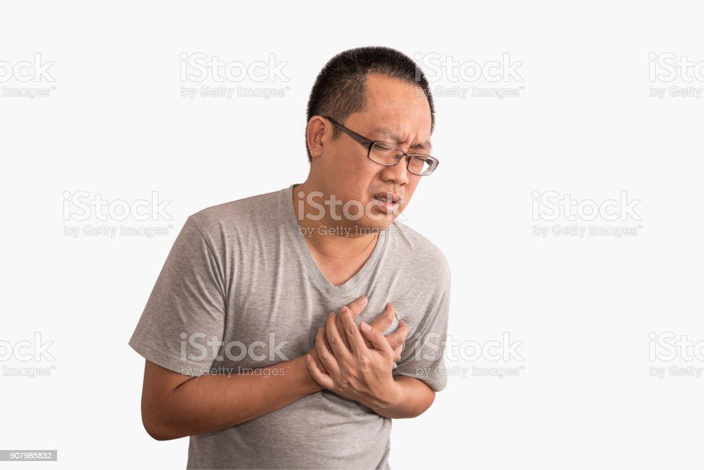 Asian man having heart attack. Feel bad on chest pain. stock photo