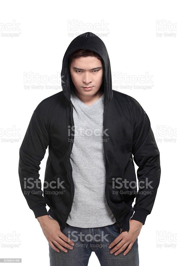 Asian man in hoodie shirt stock photo