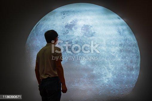 Asian Man Looking At Full Moon In Sky At Night