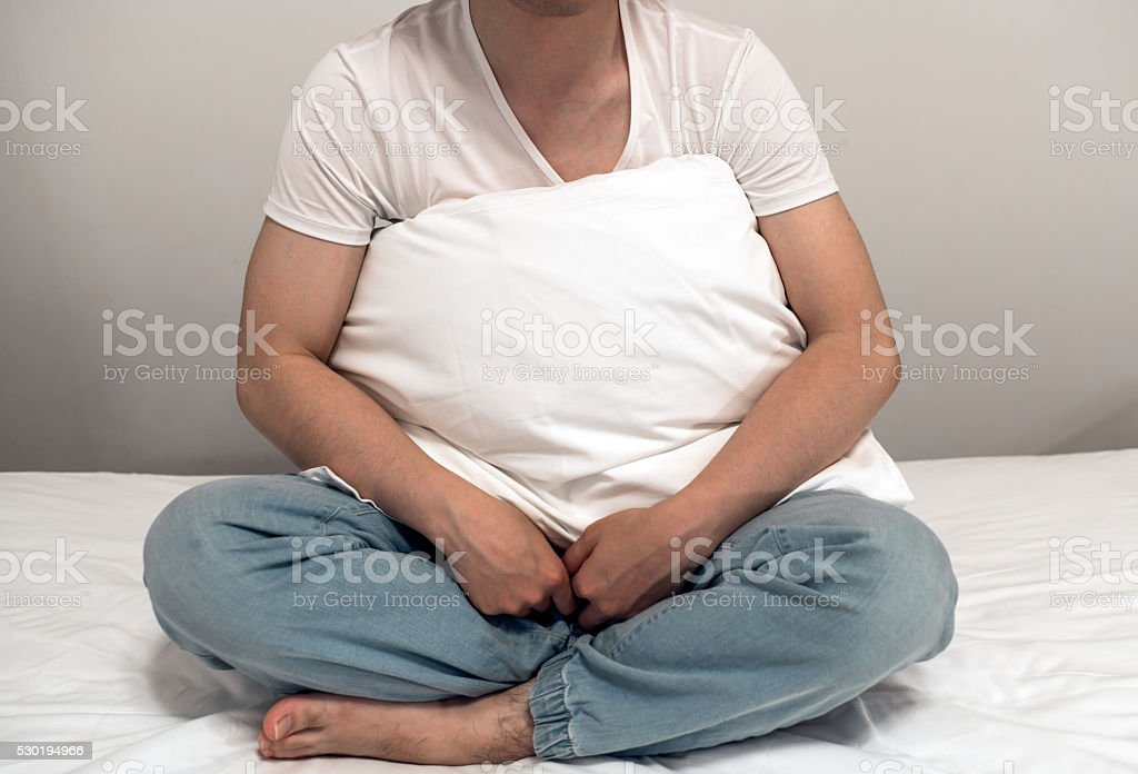 Asian man on the bed Asian man on the bed. Adult Stock Photo
